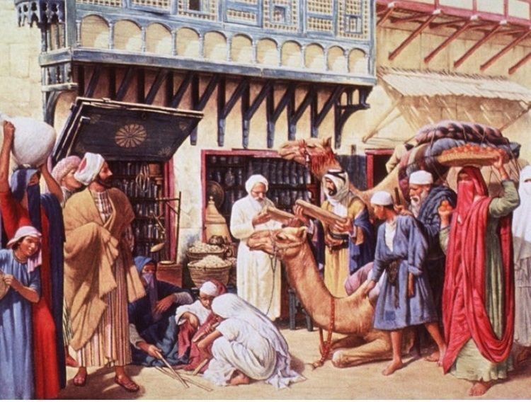 Depiction of the first drug store in Bagdad around 754 AD